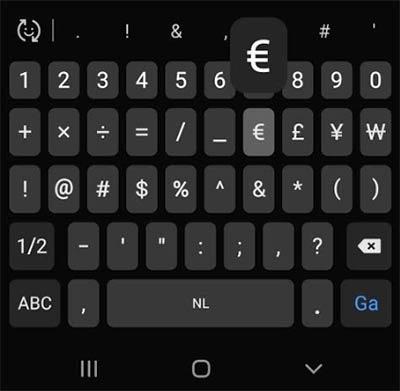 euroteken android toetsenbord