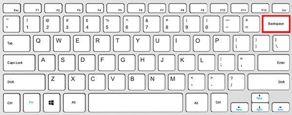 Waar zit backspace op een toetsenbord